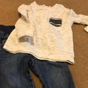 Boy 18 month heathered Henley and Jeans outfit